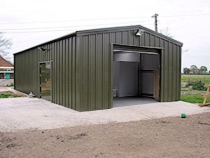 Outside of the dairy unit - finished in green steel cladding