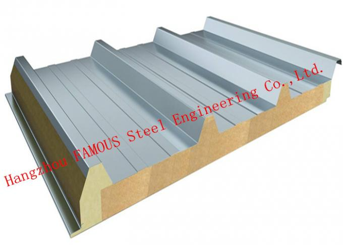 950mm Width Fire Resistant Mineral Wool Sandwich Wall Panels Durability and Long Life Time