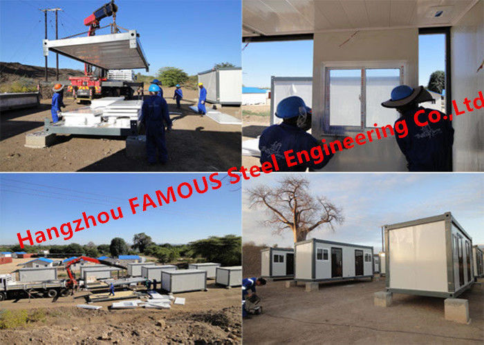 Modular Flat Pack Container Office Rooms For Temporary Use Prefab Transportable Cabins With Durable Frame