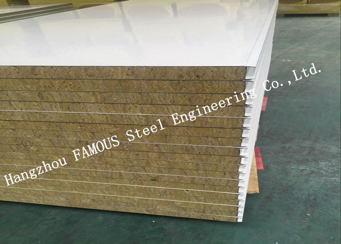 High Density Sound Insulation Rock Wool Sandwich Panels Fire Proof Wall Panel