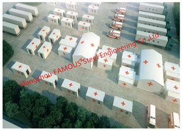 China Lightweight Steel Frame Flat Pack Prefab Containers For International Rescue Camp Or Clinic Office distributor